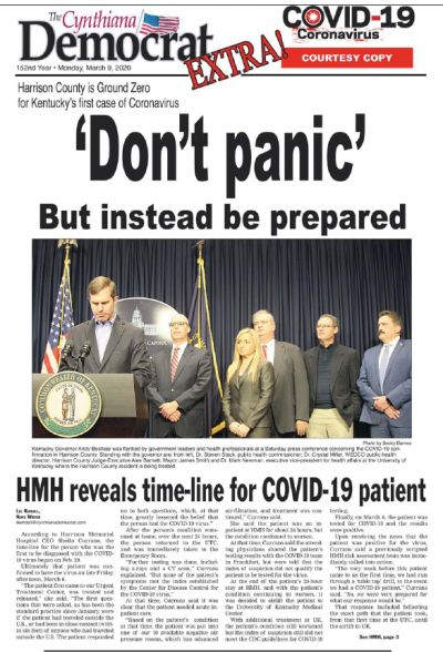 The Cynthiana (Kentucky) Democrat may have been the first newspaper in the country to do an extra, sample-copy edition about the coronavirus, in March 2020. Local governments paid for it.